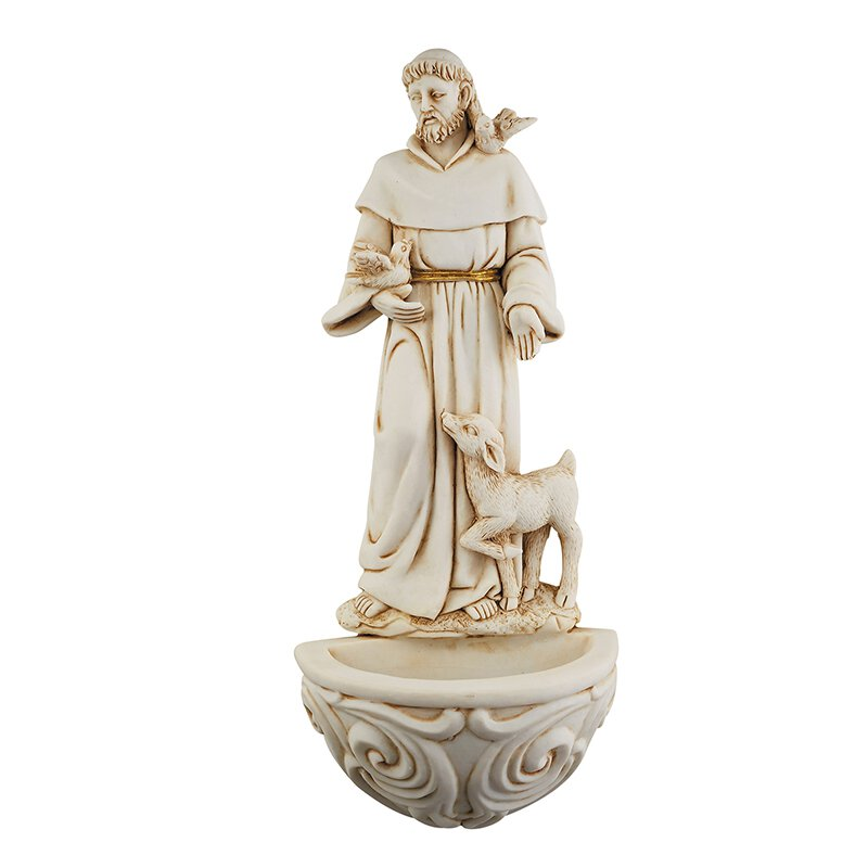 St. Francis with Doves Holy Water Font - 6/pk