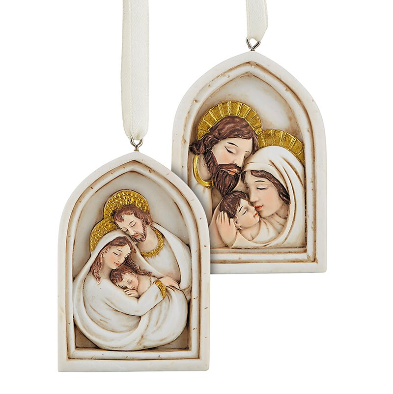 Religious Christmas Ornament Assortment: Arched Nativity Ornament Assortment (2 Asst)