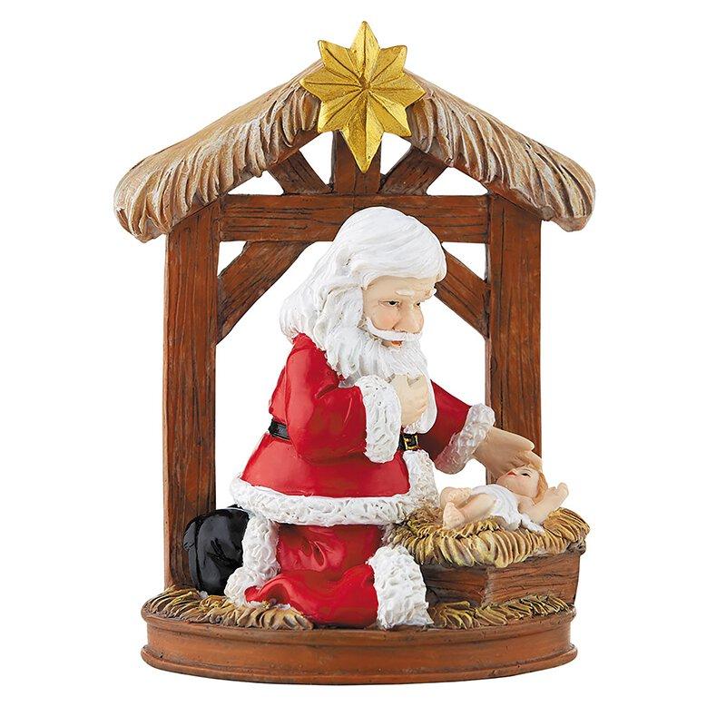 Adoring Santa Stable Figurine - 4/pk