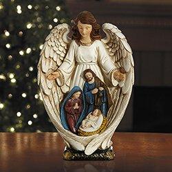 Angel Adoring the Nativity Figurine
