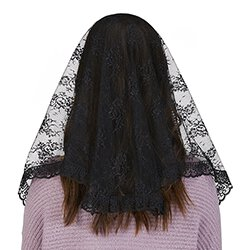 Black Lace Traditional Chapel Veil - 2/pk