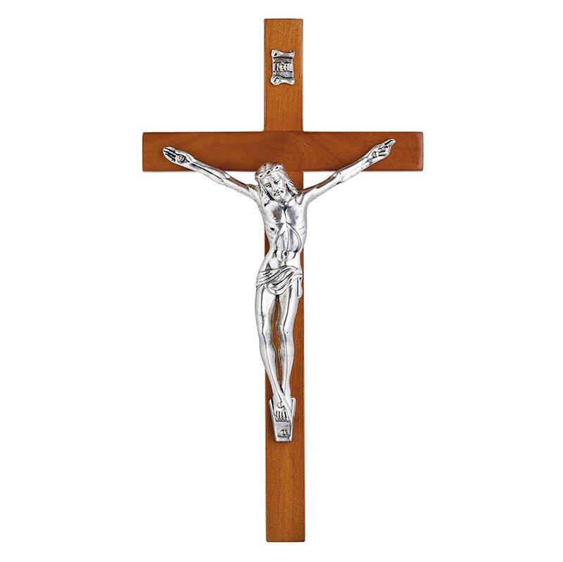 "8"" Olive Wood Finish Wall Crucifix"