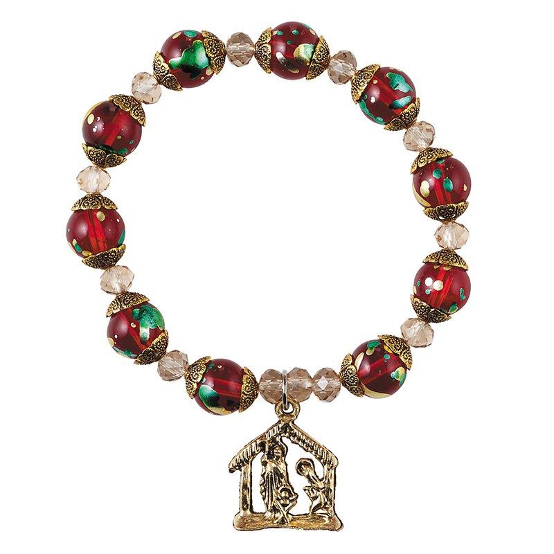 Nativity Christmas Rosary Bracelet - 12/pk