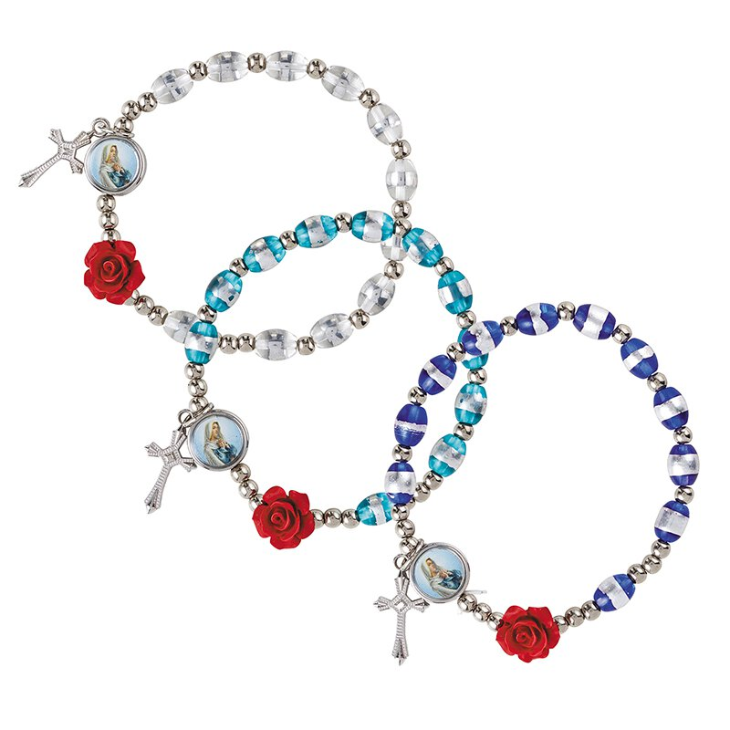 Rose Rosary Bracelet Assortment (3 Asst) - 12/pk
