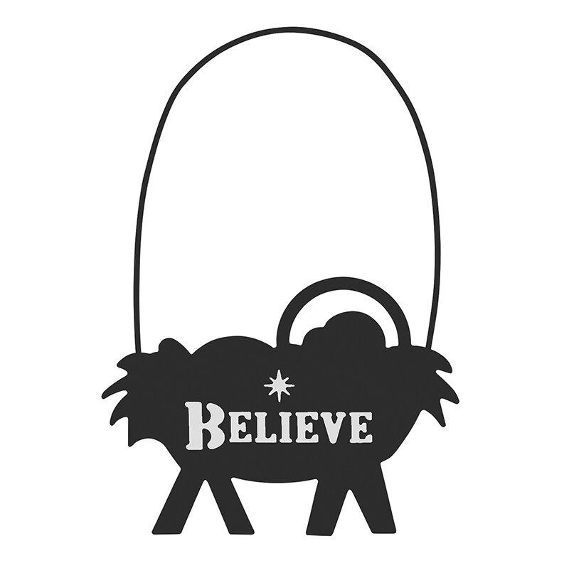 Believe Manger Silhouette Ornament - 12/pk