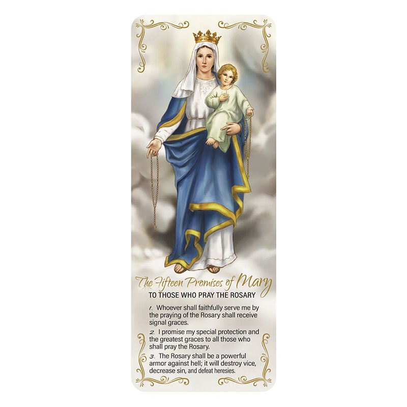 15 Promises of the Rosary Jumbo Laminated Bookmark - 50/pk