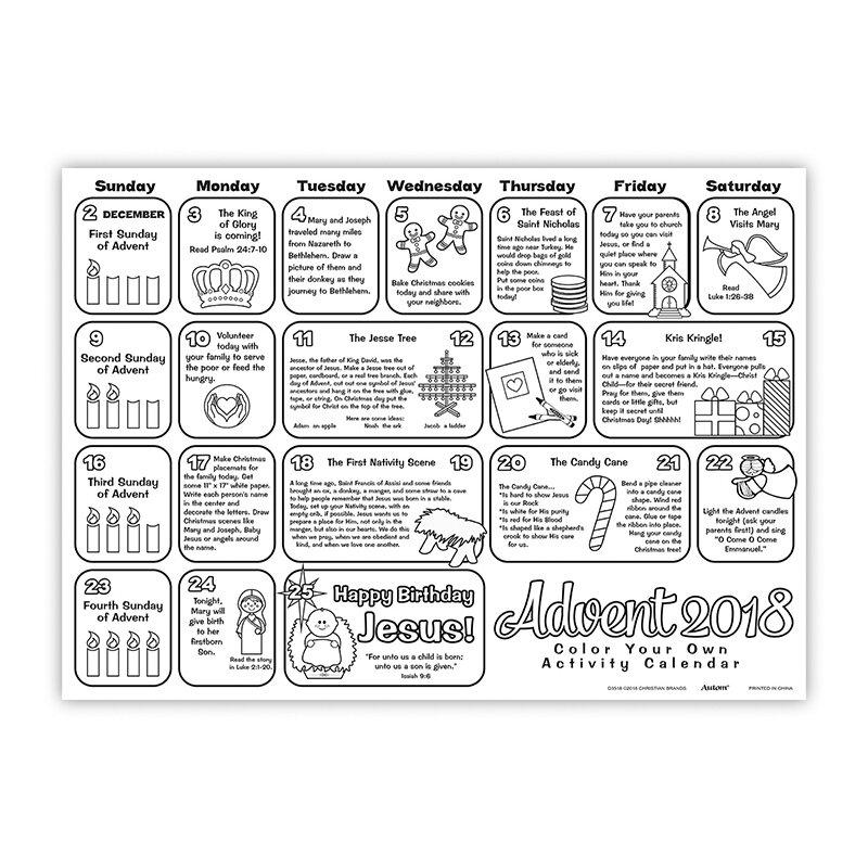 Advent Calendar Design Your Own : Color your own advent calendar pk