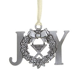 JOY Wreath Antique Ornament - 12/pk