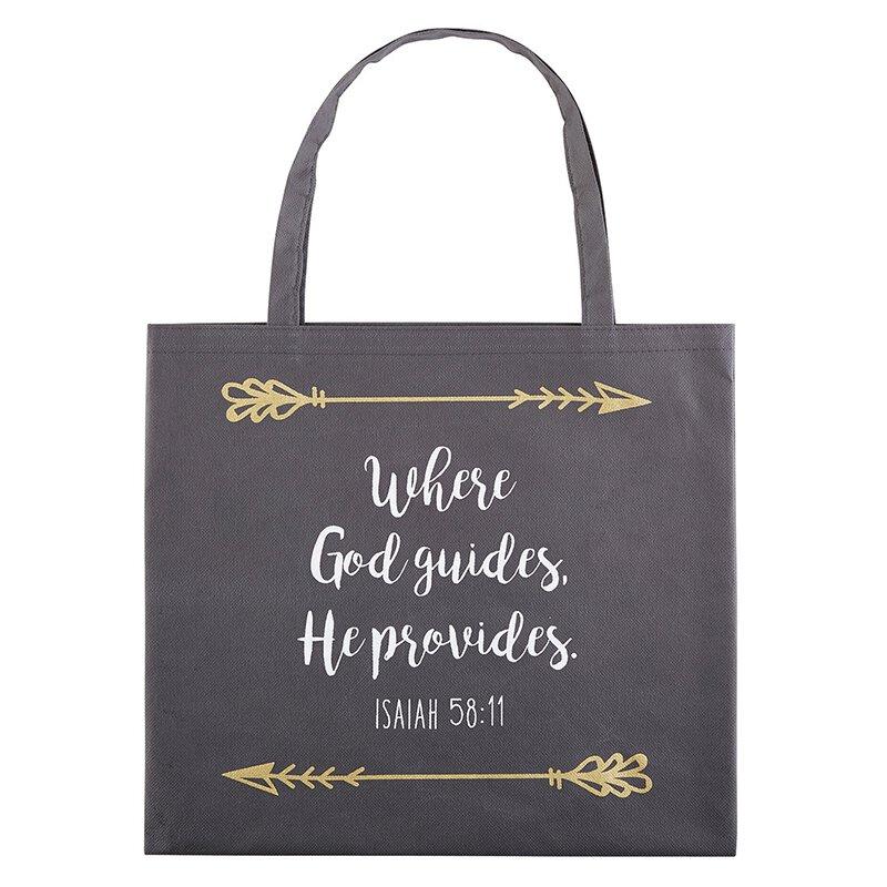 Where God Guides, He Provides Tote Bag - 12/pk