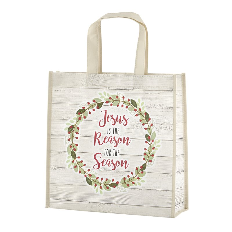 Jesus is the Reason Laminated Tote Bag - 12/pk