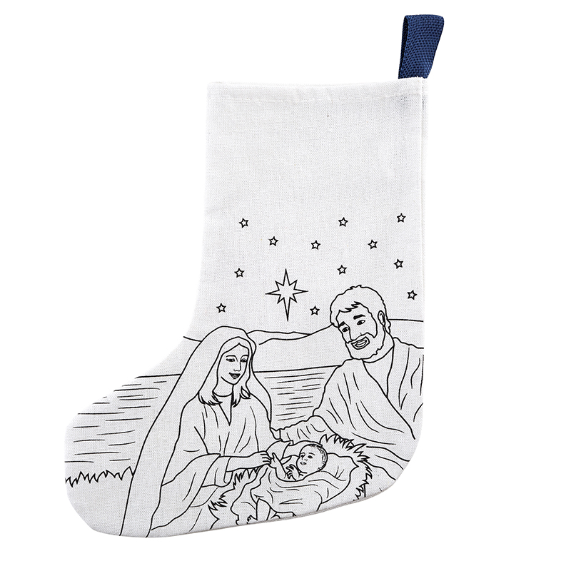 Silent Night, Holy Night Color-Your-Own Stocking - 12/pk
