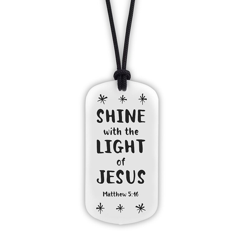 Shine with the Light of Jesus Glow-in-the-Dark Dog Tag Necklace - 18/pk