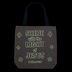 Shine with the Light of Jesus CYO Glow-in-the-Dark Tote Bag - 12/pk