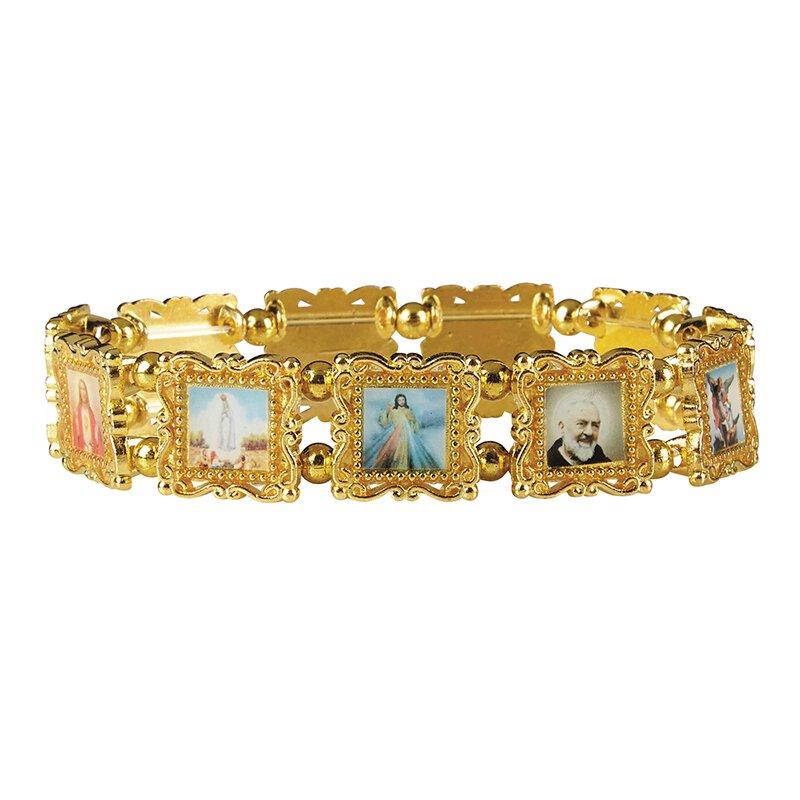 Gold Patron Saints Bracelet - 4/pk