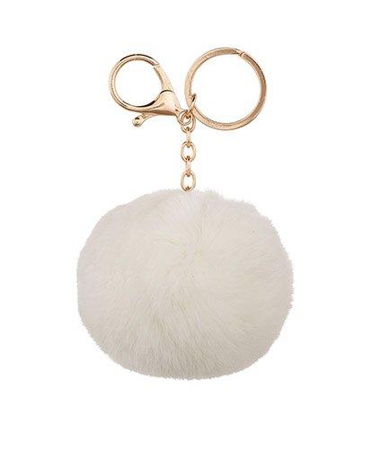 White Pom Pom Keyring