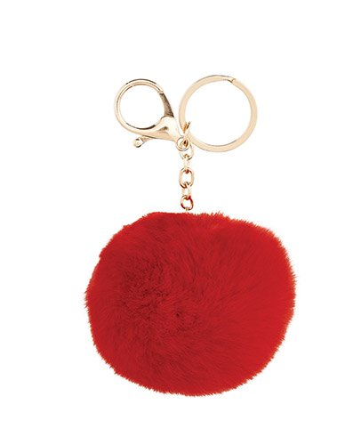 Red Pom Pom Keyring