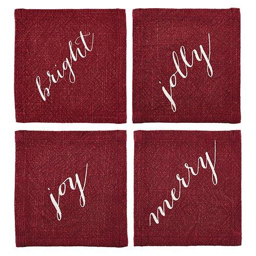 Fabric Cocktail Napkin - Merry, Jolly, Bright, Joy