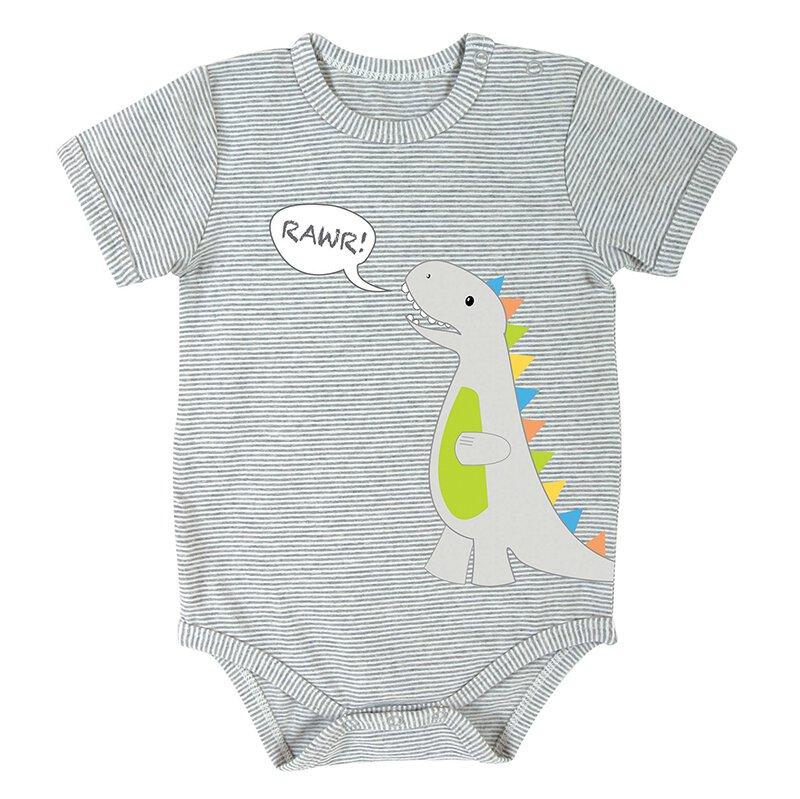 Gray Stripe 0-3mo Dinosaur Snapshirt