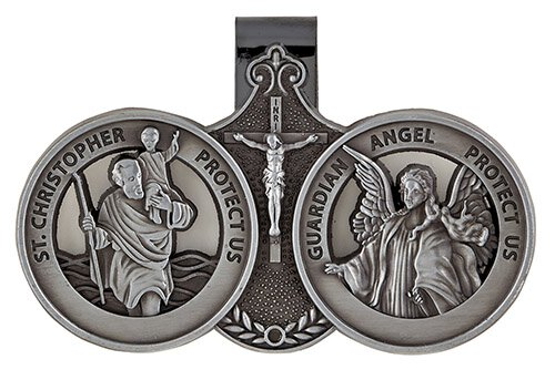 St. Christopher/Guardian Angel Visor Clip - 6/pk