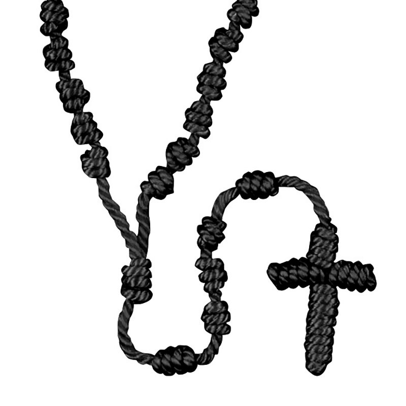 Black Knotted Cord Rosary - 12/pk