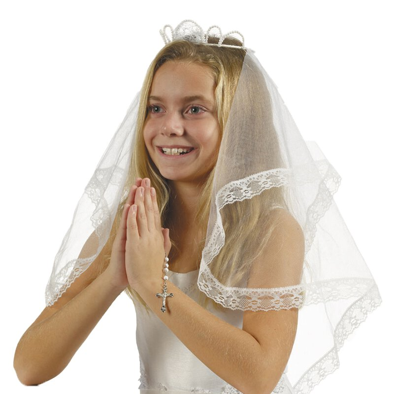 Crown of Pearls First Communion Veil - 3/pk
