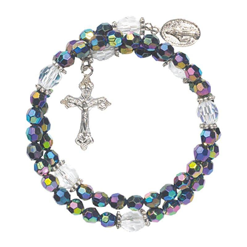 Purple Wrap Style Rosary Bracelet - 12/pk