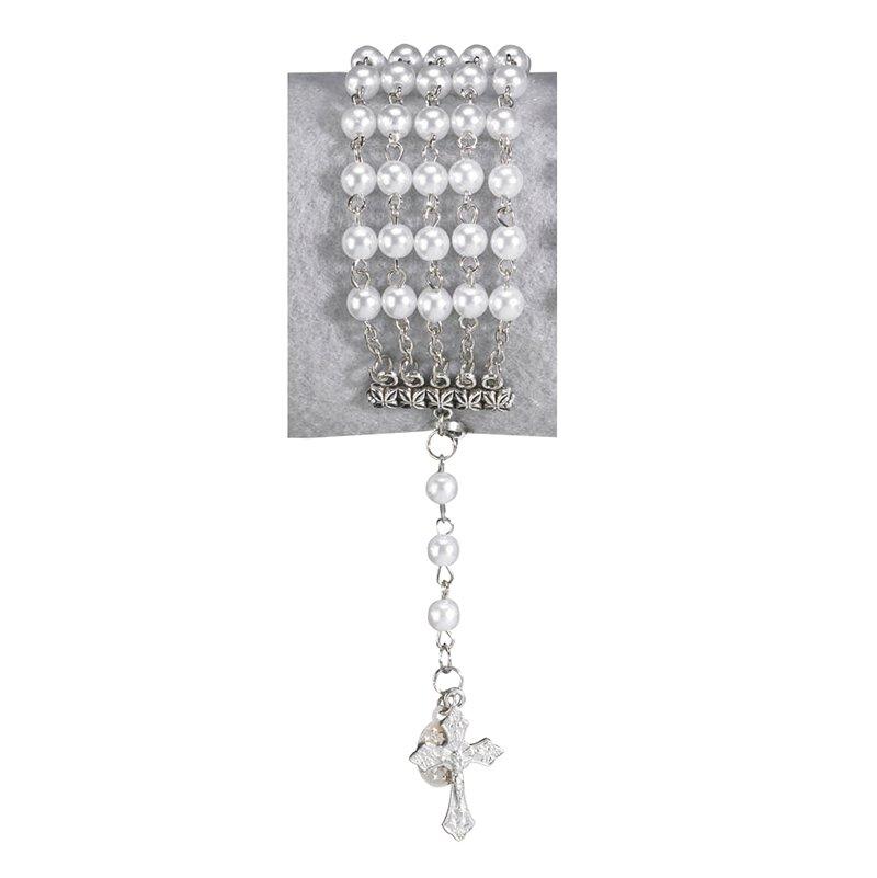 White Imitation Pearl Five String Rosary Bracelet - 12/pk
