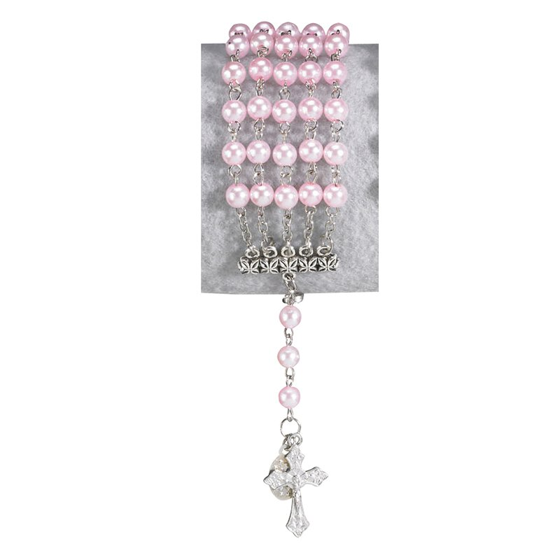 Pink Imitation Pearl Five String Rosary Bracelet - 12/pk