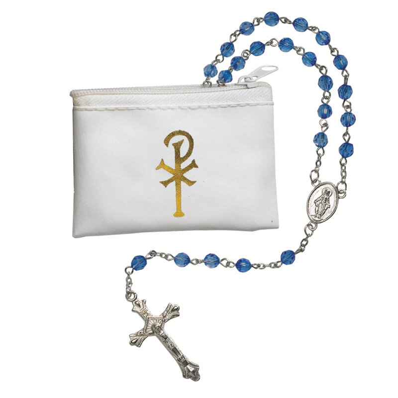 Sapphire Faceted Rosary with White Rosary Case - 12/pk