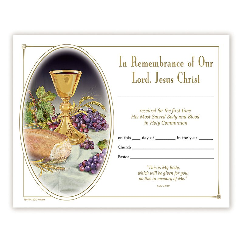 Body of Christ First Communion Certificate - 100/pk