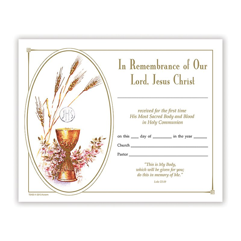 Bread of Life First Communion Certificate - 100/pk