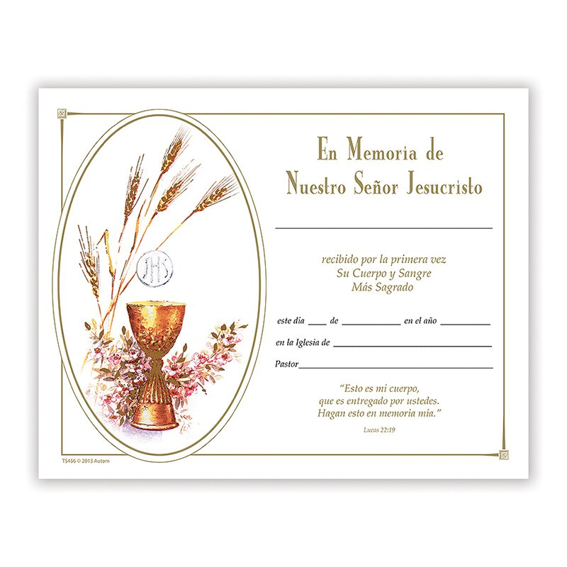 Pan de Vida Spanish First Communion Certificate - 100/pk