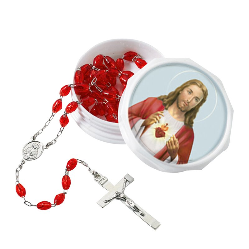 Sacred Heart Rosary with Two-Piece Case - 6/pk