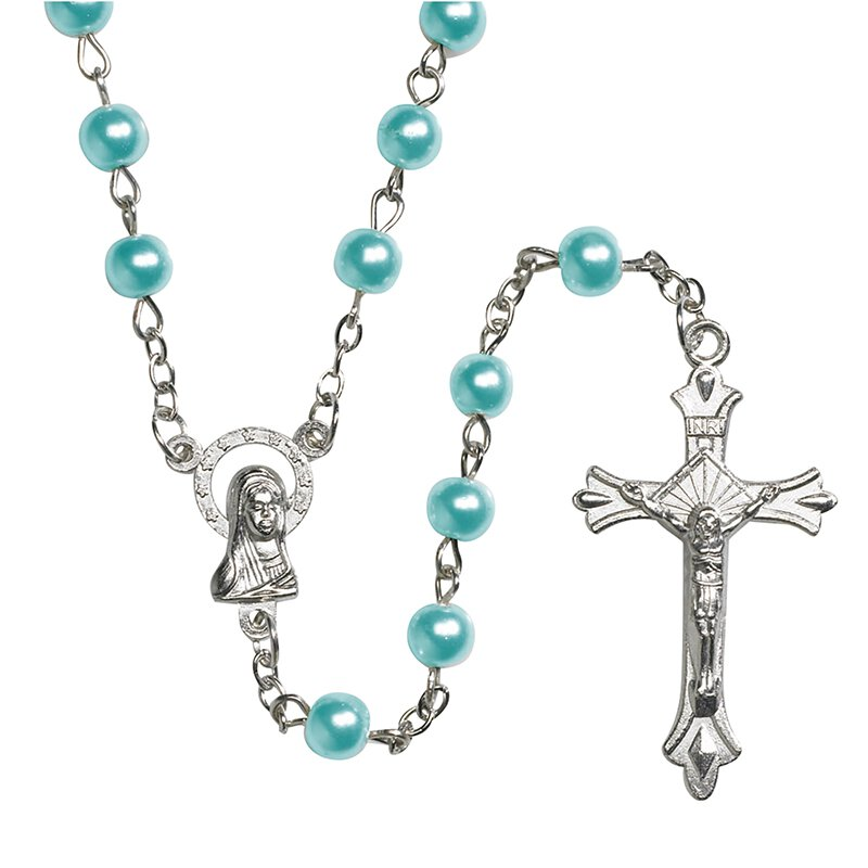 Aqua Imitation Pearl Rosary - 12/PK