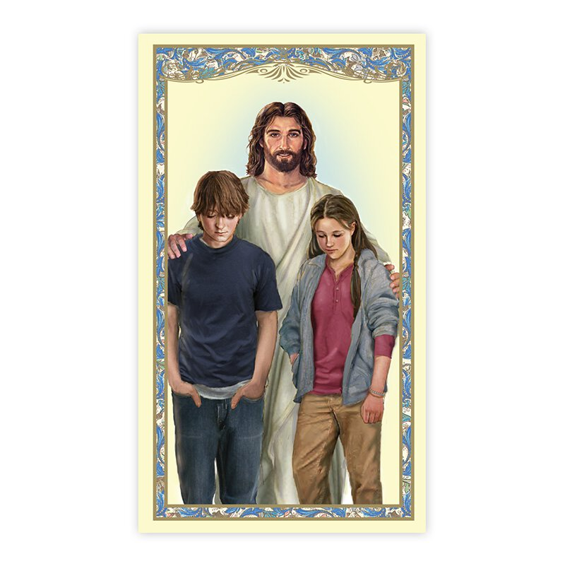 Christ with Teens Holy Card - 100/pk