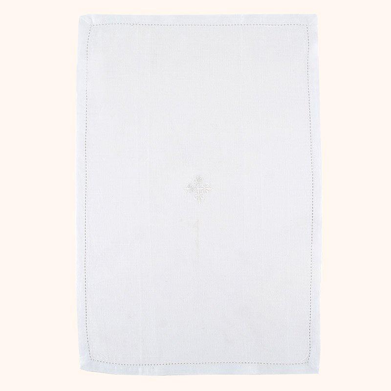 100% Linen White Fleur-de-Lis Cross Lavabo Towel - 3/pk