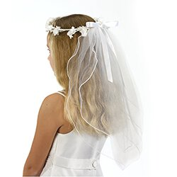 Floral Crown First Communion Veil - 12/pk