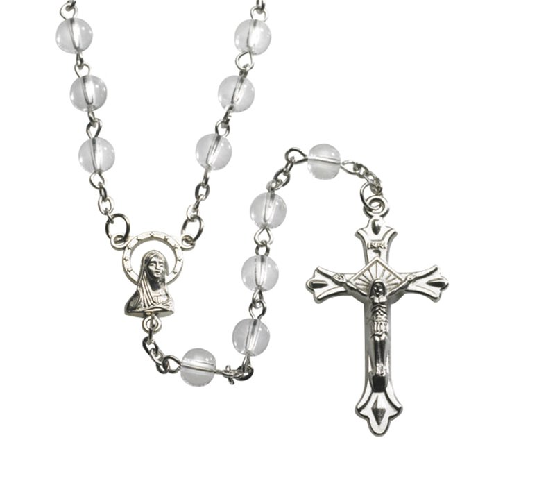 Clear Round Pressed Glass Rosary - 12/pk