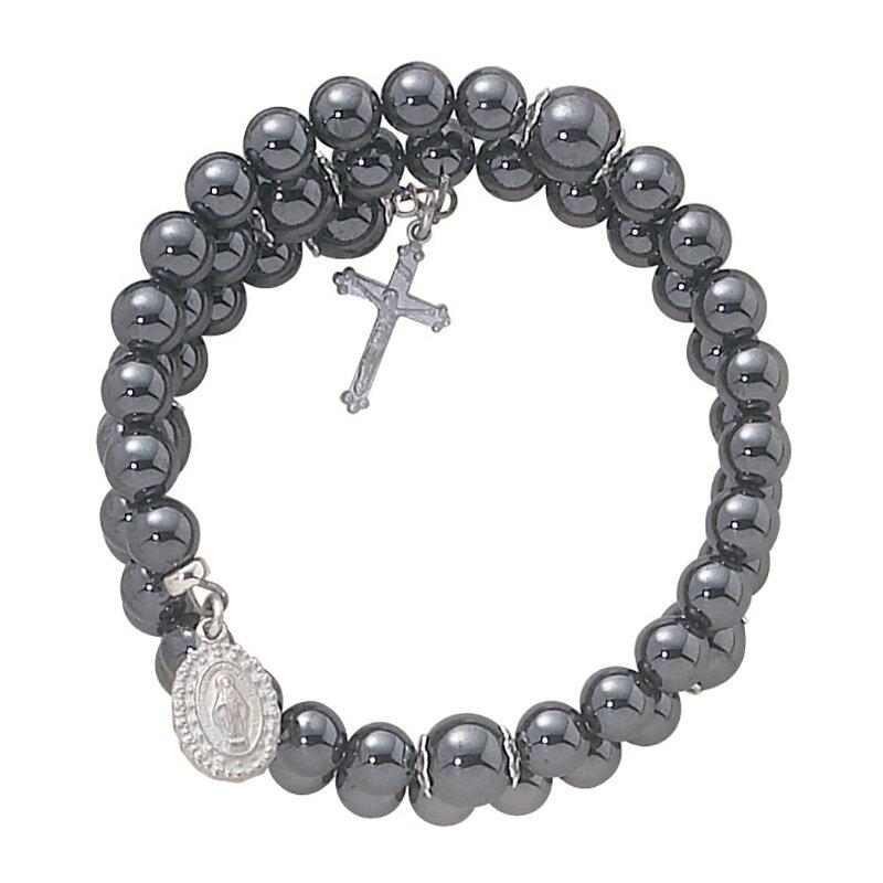 Wrap Around Bracelets 5 Decade Rosary 6MM Faux Semi Precious