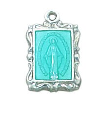 Sterling Miraculous Medal with Blue Accent