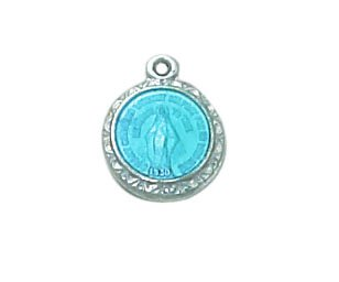 Sterling Miraculous Medal with Blue Accents