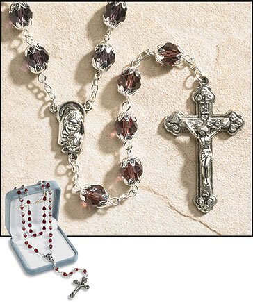 February (Dark Amethyst) Double Capped Birthstone Rosary