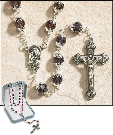 June (Light Amethyst) Double Capped Birthstone Rosary