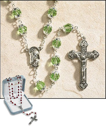 August (Peridot) Double Capped Birthstone Rosary