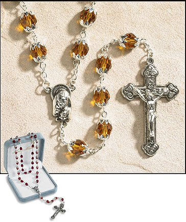 November (Topaz) Double Capped Birthstone Rosary
