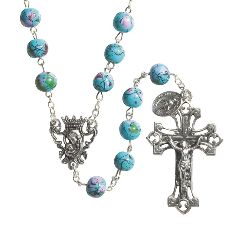 Splash Glass Blue Rosary