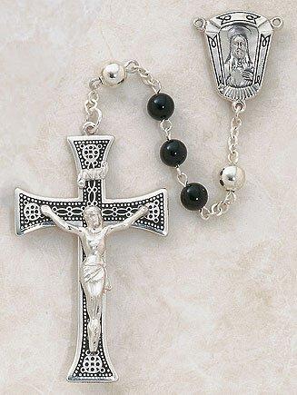 Sterling Silver Semi-Precious Black Onyx Rosary