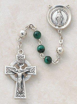Sterling Silver Semi-Precious Malachite Rosary