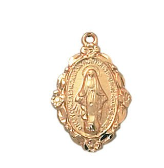 24kt Gold Plate Over Sterling Miraculous Medal