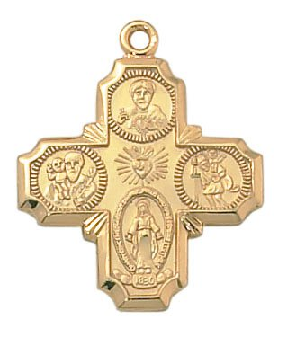 24kt Gold Plate Over Sterling Four Way Medal